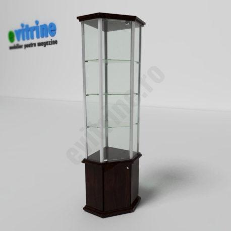 vitrina din sticla pentru colt, vitrine turn din aluminiu clasic, vitrine pentru magazin, vitrine din sticla, vitrine din sticla pentru magazin, vitrine bijuterii, vitrine muzeu, mobilier bijuterii, mobilier muzeu, vitrine la comanda